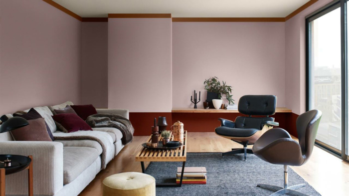 Living room in terracotta color applied in small doses