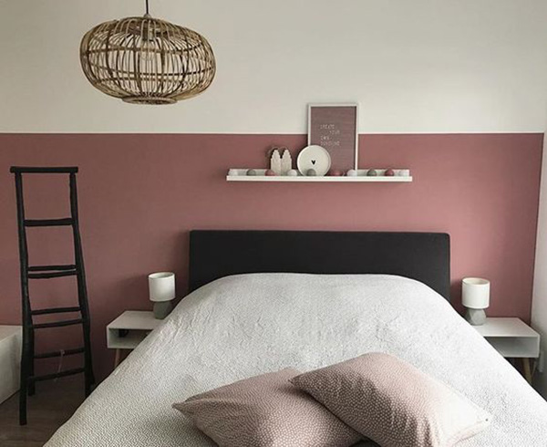 Bedroom painted with soft terracotta