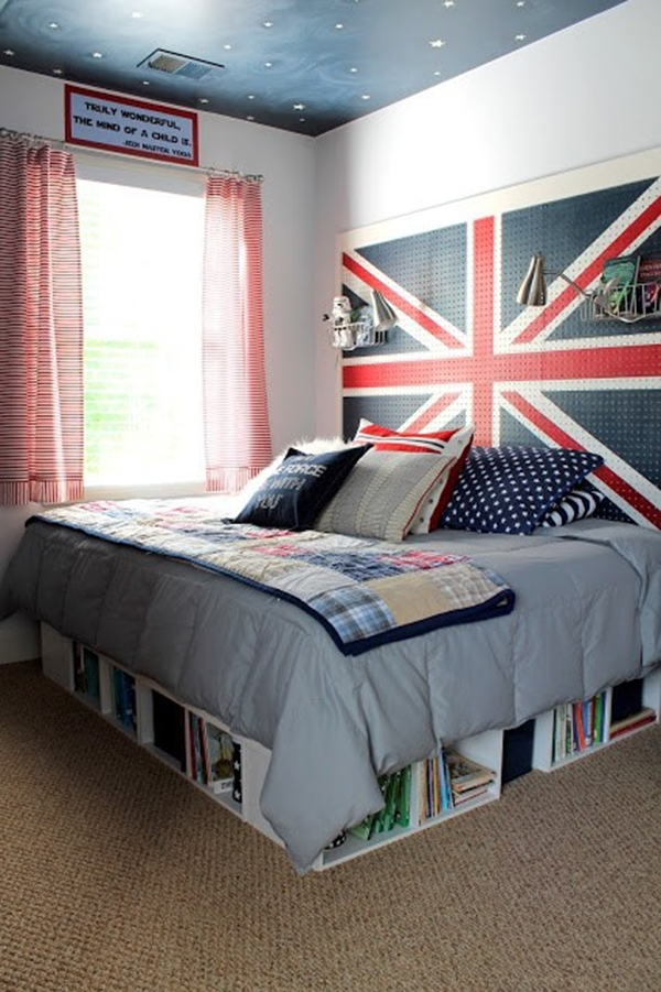 Perforated metal plate as a headboard
