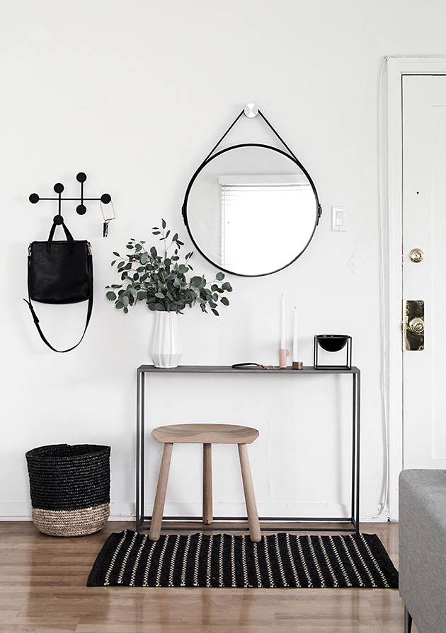 Modern minimalist hall, entrance or entrance in Nordic style