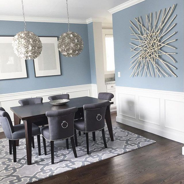 Dining Room Coloring Colors: The dining room is painted blue