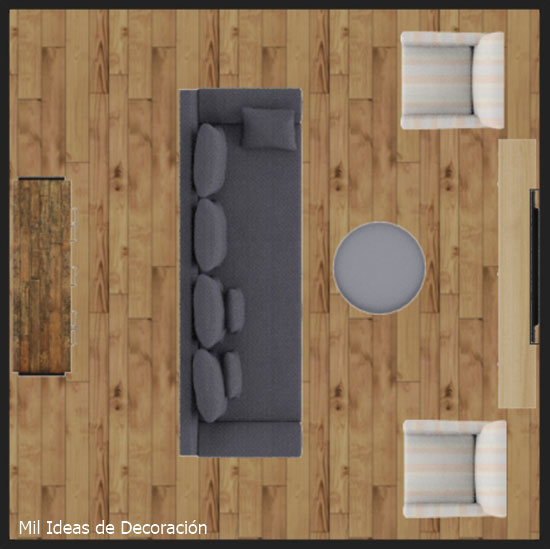 Distribution of furniture for square living rooms