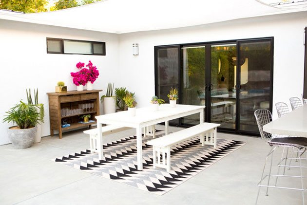 Grassless terrace with polished concrete
