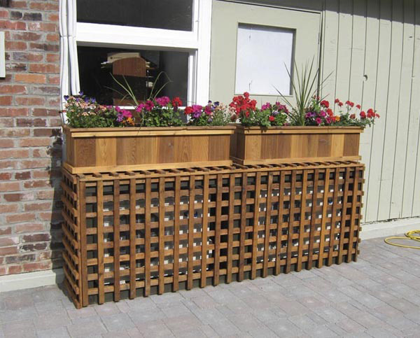 Wooden grille to hide the air conditioning engine from the outside