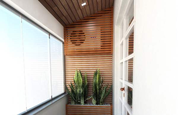 A wall of wooden slats to hide the air conditioning engine on the terrace or balcony