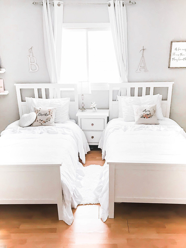 Shared dormitory with two beds for girls